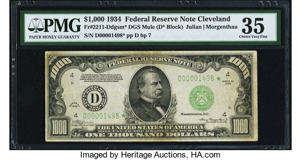 Fr  2211-D* $1,000 1934 Mule Federal Reserve Note  PMG