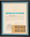 Explorers:Space Exploration, Apollo 11 Lunar Surface Used Camera Film Fragment on a Certificate of Authenticity Signed by Richard Underwood, in Framed Disp...
