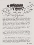 "Explorers:Space Exploration, Apollo 13 ""NASA Mission Report"" Signed by James Lovell, Fred Haise, and Gene Kranz. ..."