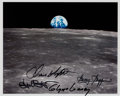 "Explorers:Space Exploration, Apollo 11 ""Earthrise"" Color Photo Signed by Gene Kranz, Chris Kraft, Gerry Griffin, and Glynn Lunney. ..."
