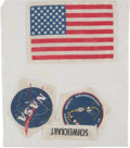 Explorers:Space Exploration, Apollo 9 Flown Pressure Suit Patch Set (Four) Directly from thePersonal Collection of Mission Lunar Module Pilot Rusty Schwei...