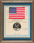 Explorers:Space Exploration, Apollo 11 Flown American Flag on a Signed Presentation Certificate, Originally Presented by Buzz Aldrin to a Family Member, in...