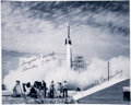 Explorers:Space Exploration, Konrad Dannenberg Signed Photo of the 1950 Bumper 8 Launch, the First Rocket Launched from Cape Canaveral. ...