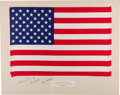 Explorers:Space Exploration, Apollo 12 Lunar Module Flown Largest Size American Flag on a Crew-Signed Presentation Mat Directly from the Family Collection ...
