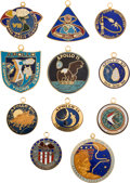 Explorers:Space Exploration, Apollo 7 - Apollo 17: Complete Collection of Original Rockwell Enameled Mission Insignia Charms Directly from the Family Colle...