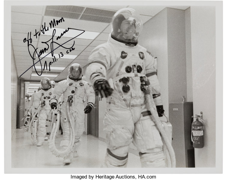 James Lovell Signed Apollo 13 Crew White Spacesuit Launch