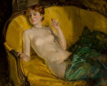 Fine Art - Painting, American, Howard Chandler Christy (American, 1872-1952). Nude WearingPearls. Oil on canvas. 40 x 50 inches (101.6 x 127 cm). Sign...