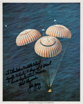 Explorers:Space Exploration, John Young Signed Apollo 16 Splashdown Color Photo with Great Handwritten Comments. ...