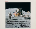 """Explorers:Space Exploration, Dave Scott Signed Apollo 15 Lunar Surface Flag Salute Vintage NASA """"Red Number"""" Color Photo with Added Comments. ..."""