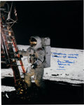 Explorers:Space Exploration, Alan Bean Signed Large Apollo 12 Lunar Surface Color Photo. ...