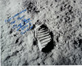 "Explorers:Space Exploration, Buzz Aldrin Signed Large Apollo 11 ""Foot Print"" Lunar Surface Color Photo...."