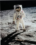 "Explorers, Buzz Aldrin Signed Large Apollo 11 Lunar Surface ""Visor"" Color Photo. ..."