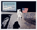 Explorers:Space Exploration, Apollo 14 Lunar Module Flown Safety Line Swatch [and] Edgar Mitchell Lunar Surface Signed Color Photo Certifying the Line.... (Total: 2 Items)