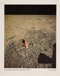 Explorers:Space Exploration, Neil Armstrong Signed Large Apollo 11 Lunar Surface Flag Color Photo. ...