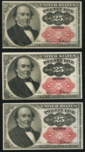 Fractional Currency:Fifth Issue, Fr. 1309 25¢ Fifth Issue About New. Three Examples.. ... (Total: 3 notes)