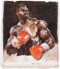 Boxing Collectibles:Memorabilia, 2000's Larry Holmes Original on Canvas by Stephen Holland. ...