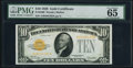 Small Size:Gold Certificates, Fr. 2400 $10 1928 Gold Certificate. PMG Gem Uncirculated 65.. ...