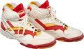 Basketball Collectibles:Others, 1992-93 to 1993-94 Hakeem Olajuwon Game Worn & Signed HoustonRockets Sneakers - MVP & Championship Seasons!...