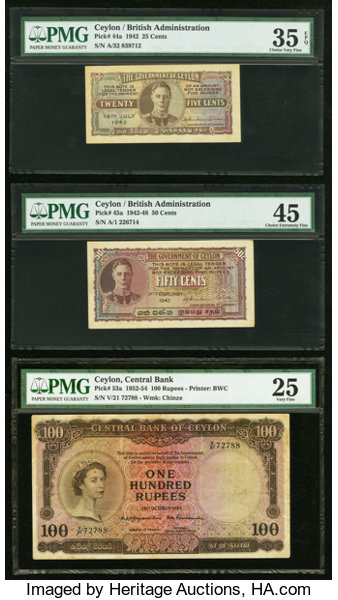 c4be65e91148 Ceylon Government of Ceylon Lot of 6 Various Issued Examples..