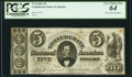 Confederate Notes:1861 Issues, T34 $5 1861 PF-3 Cr. 264 PCGS Very Choice New 64, CC.. ...