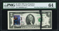 Error Notes:Ink Smears, First Day Stamp Cancel April 13, 1976 Black Ink Smear Fr. 1935-L $2 1976 Federal Reserve Note. PMG Choice Uncirculated 64.. ...