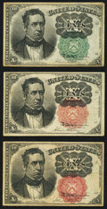 Fractional Currency:Fifth Issue, Fr. 1264 10¢ Fifth Issue XF;. Fr. 1265 10¢ Fifth Issue Fine-VF;. Fr. 1266 10¢ Fifth Issue Fine-VF.. ... (Total: 3 notes)