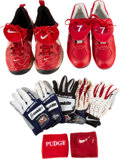 Baseball Collectibles:Others, 1990's Ivan Rodriguez Game Worn Cleats, Batting Gloves & Wristband Lot of 9....
