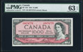 Canadian Currency, BC-44d $1000 1954 PMG Choice Uncirculated 63 EPQ.. ...