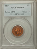 Proof Indian Cents: , 1874 1C PR64 Red PCGS. PCGS Population: (23/15). NGC Census: (6/13). CDN: $750 Whsle. Bid for problem-free NGC/PCGS PR64. M...
