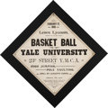 """Basketball Collectibles:Others, 1895-96 Yale University Bulldogs """"Basket Ball"""" Broadside from TheMabel Welton Collection - First NCAA Basketball Champions!..."""