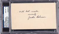 1947 Jackie Robinson Signed Government Postcard, PSA/DNA Gem Mint 10 - His First Week in the Majors