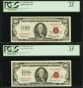 Small Size:Legal Tender Notes, Fr. 1550 $100 1966 Legal Tender Notes. Two Examples. PCGS Very Fine 35.. ... (Total: 2 notes)