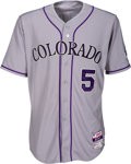 Baseball Collectibles:Uniforms, 2015 Carlos Gonzalez Game Worn Colorado Rockies Jersey - MLB Authentic & Team Letter. ...