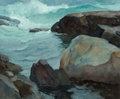 Fine Art - Painting, American, Newell Convers Wyeth (American, 1882-1945). Rocks, PortClyde, circa 1920-29. Oil on canvas. 25 x 30 inches (63.5 x76.2...