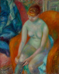 American, William James Glackens (American, 1870-1938). Nude Pulling OnStocking (Nude With Red Hair), circa 1925. Oil on canvas. ...