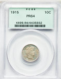 Proof Barber Dimes: , 1915 10C PR64 PCGS. PCGS Population: (54/34). NGC Census: (47/51). PR64. Mintage 450. . From The William Rehwald Proof ...