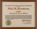 Explorers, Gemini 8: Neil Armstrong's Personal Exceptional Service Medal Citation Directly From The Armstrong Family Collection™, CAG Cer...