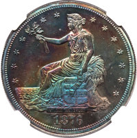 1876 T$1 -- Artificial Toning -- NGC Details. Proof. NGC Census: (0). PCGS Population: (0). Mintage 1,150....(PCGS# 7056...