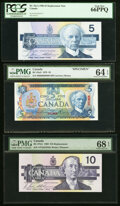 Canadian Currency, A Selection of Modern Bank of Canada Issues 1979-2005 PMG & PCGS Graded About Uncirculated 53 EPQ or better.. ... (Total: 9 notes)