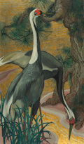 Paintings, Jessie Arms Botke (American, 1883-1971). White Necked Cranes. Oil and gold leaf on Masonite. 30 x 17-1/2 inches (76.2 x ...