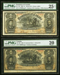Canadian Currency, DC-13b $1 1898 Two Examples PMG Very Fine 20; PMG Very Fine 25 Net.. ... (Total: 2 notes)