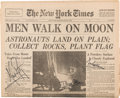 Explorers:Space Exploration, Apollo 11 Crew-Signed The New York Times Front Page Dated July 21, 1969. ...
