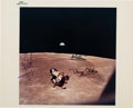 "Explorers:Space Exploration, Apollo 11 Crew-Signed Vintage NASA ""Blue Number"" Lunar Color Photo. ..."