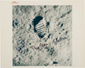 """Explorers:Space Exploration, Apollo 11 Crew-Signed Vintage NASA """"Red Number"""" Lunar Bootprint Color Photo. ..."""