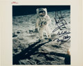 """Explorers:Space Exploration, Apollo 11 Crew-Signed Vintage NASA """"Red Number"""" """"Visor"""" Color Photo. ..."""