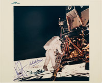 "Apollo 11 Crew-Signed Vintage NASA ""Blue Number"" Lunar Module Ladder Color Photo"