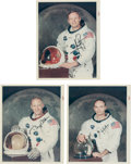 "Explorers:Space Exploration, Apollo 11: Set of Individually-Signed and Uninscribed Vintage NASA ""Red Number"" White Spacesuit Color Photos. ..."