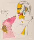 Fine Art - Work on Paper:Watercolor, Richard Lindner (1901-1978)A Man's Best Fri...