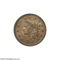 1838 1C MS64 Brown NGC. N-1, Early Die State, R.1. The 1838 N-1 variety is one of the most common for this date, a year...