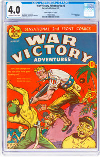 "War Victory Adventures #2 Davis Crippen (""D"" Copy) Pedigree (Harvey, 1943) CGC VG 4.0 Off-white to white pages..."